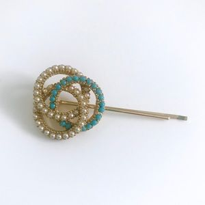 Vintage 1950's turquoise pearl costume bobby pin
